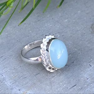 Aquamarine blue beryl STERLING SILVER ring gem 8